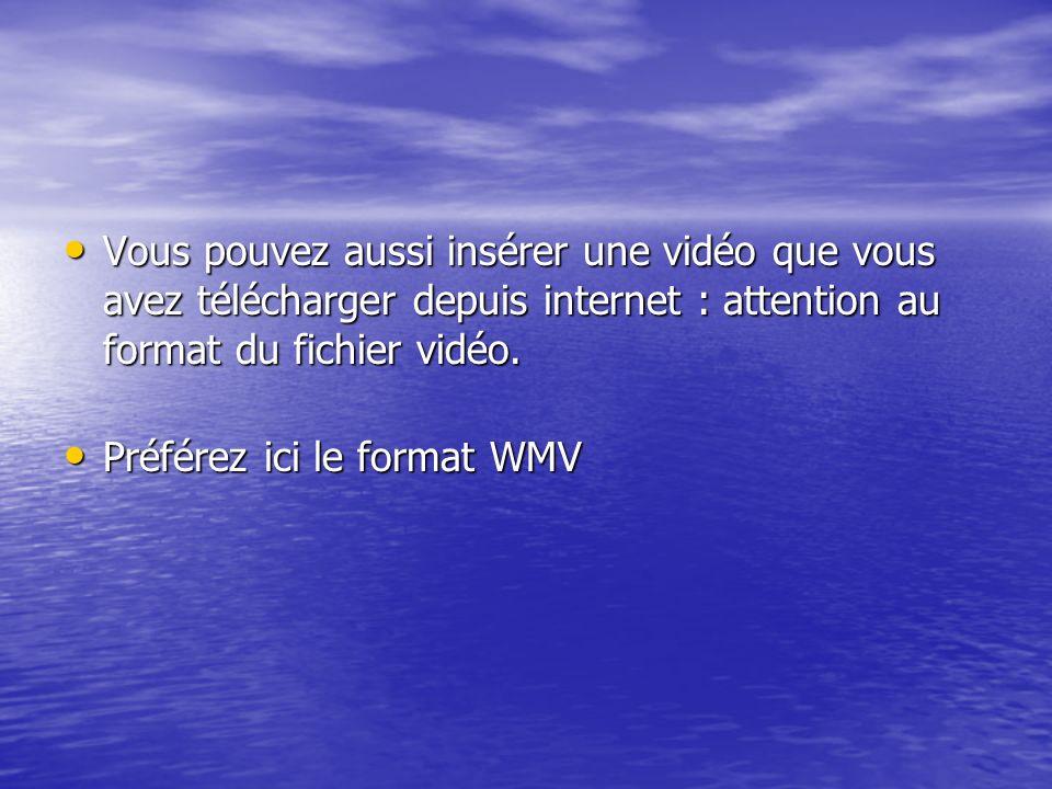 Vous pouvez aussi insérer une vidéo que vous avez télécharger depuis internet : attention au format du fichier vidéo.