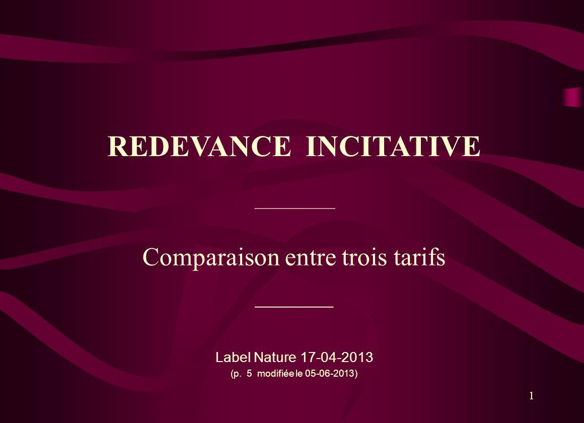 1 REDEVANCE INCITATIVE Comparaison entre trois tarifs ______ Label Nature 17-04-2013 (p. 5 modifiée le 05-06-2013) __________