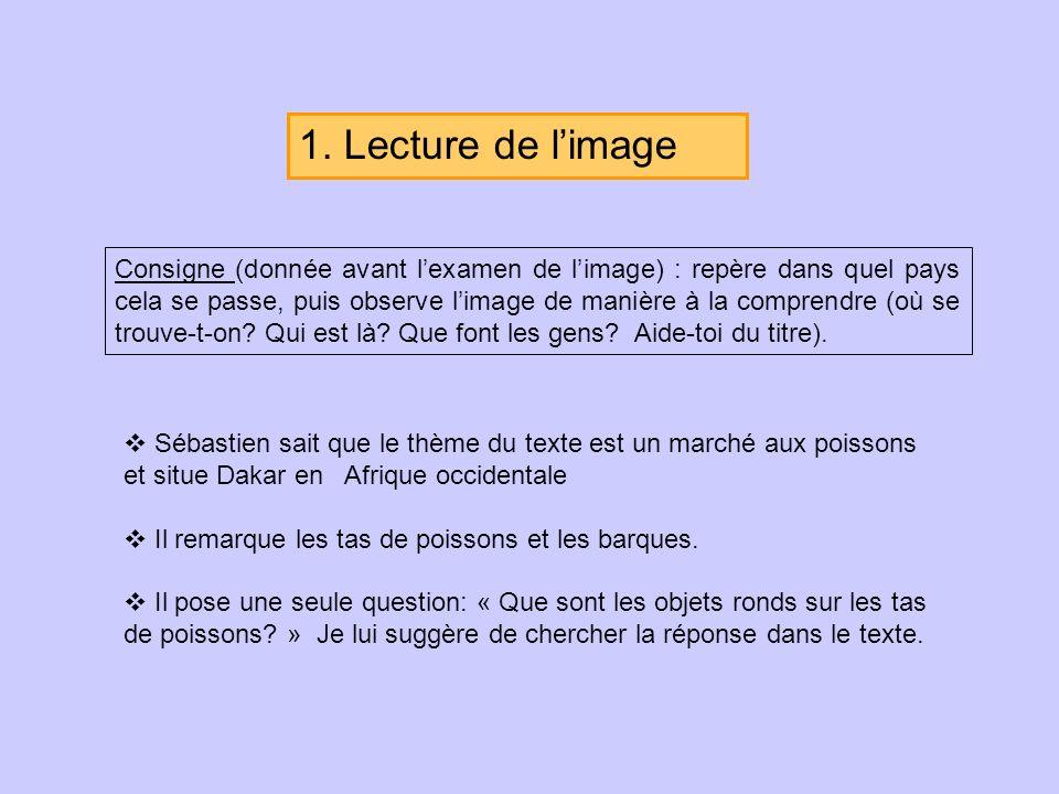 1. Lecture de limage Consigne (donnée avant lexamen de limage) : repère dans quel pays cela se passe, puis observe limage de manière à la comprendre (