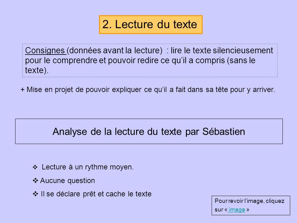 Consignes (données avant la lecture) : lire le texte silencieusement pour le comprendre et pouvoir redire ce quil a compris (sans le texte). + Mise en