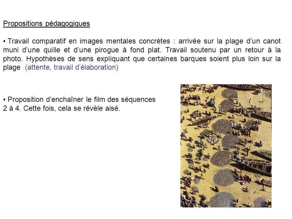 Propositions pédagogiques Travail comparatif en images mentales concrètes : arrivée sur la plage dun canot muni dune quille et dune pirogue à fond pla