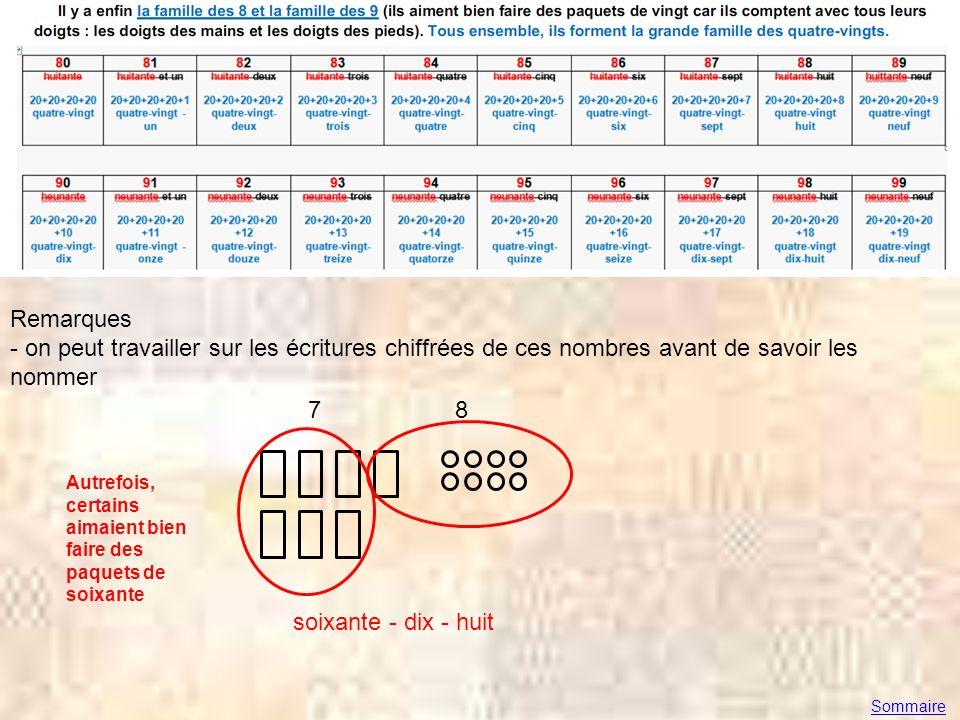 Remarques - on peut travailler sur les écritures chiffrées de ces nombres avant de savoir les nommer 7 8 soixante - dix - huit Sommaire Autrefois, cer