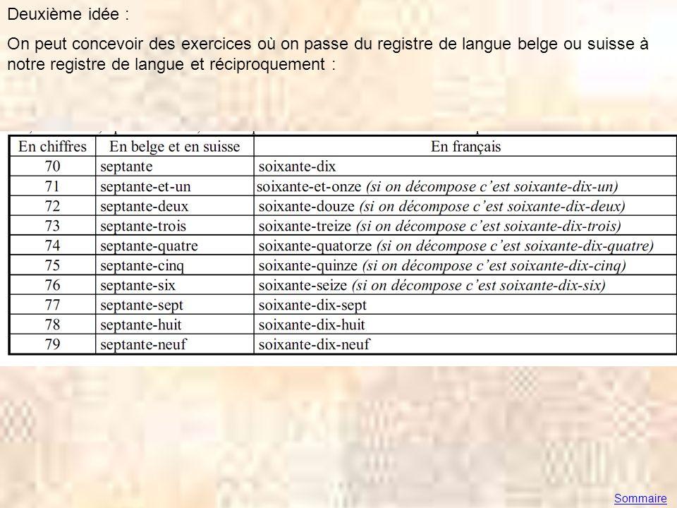Deuxième idée : On peut concevoir des exercices où on passe du registre de langue belge ou suisse à notre registre de langue et réciproquement : Somma