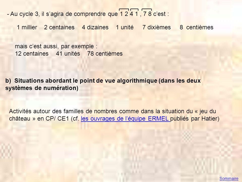 - Au cycle 3, il sagira de comprendre que 1 2 4 1, 7 8 cest : 1 millier 2 centaines 4 dizaines 1 unité 7 dixièmes 8 centièmes mais cest aussi, par exe