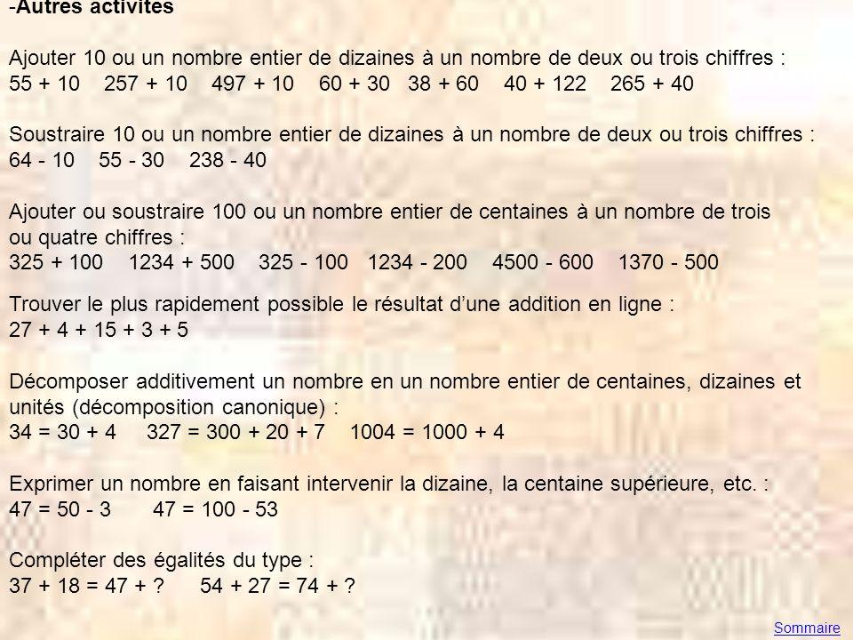 -Autres activités Ajouter 10 ou un nombre entier de dizaines à un nombre de deux ou trois chiffres : 55 + 10 257 + 10 497 + 10 60 + 30 38 + 60 40 + 12