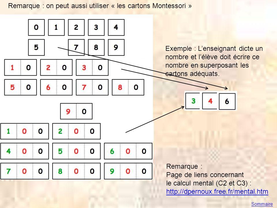 Remarque : on peut aussi utiliser « les cartons Montessori » Exemple : Lenseignant dicte un nombre et lélève doit écrire ce nombre en superposant les