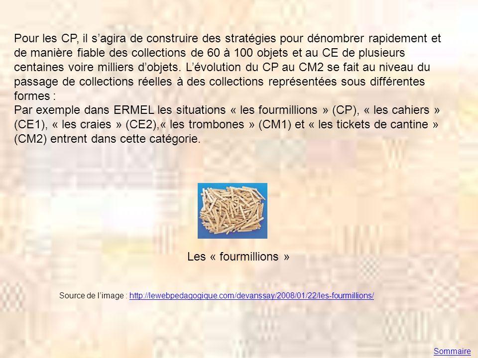 Pour les CP, il sagira de construire des stratégies pour dénombrer rapidement et de manière fiable des collections de 60 à 100 objets et au CE de plus