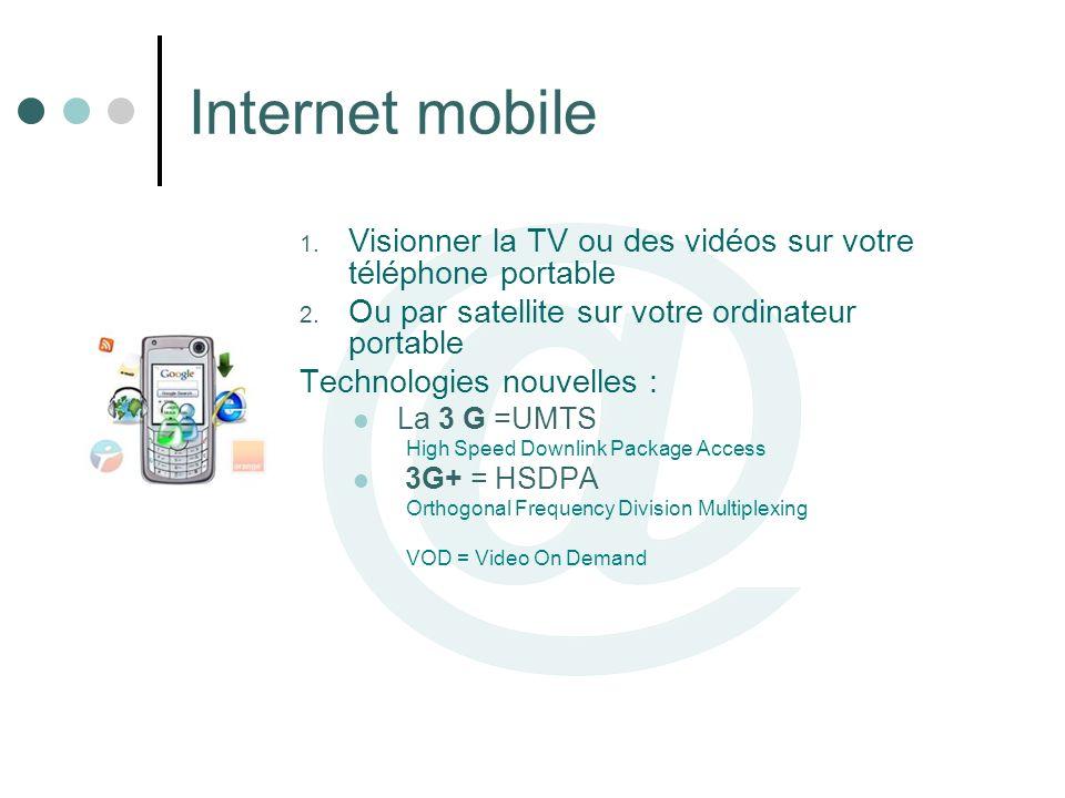 Internet mobile 1. Visionner la TV ou des vidéos sur votre téléphone portable 2. Ou par satellite sur votre ordinateur portable Technologies nouvelles