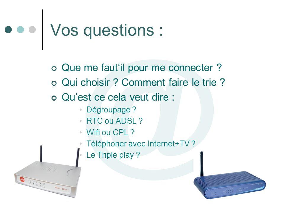Vos questions : Que me fautil pour me connecter ? Qui choisir ? Comment faire le trie ? Quest ce cela veut dire : Dégroupage ? RTC ou ADSL ? Wifi ou C