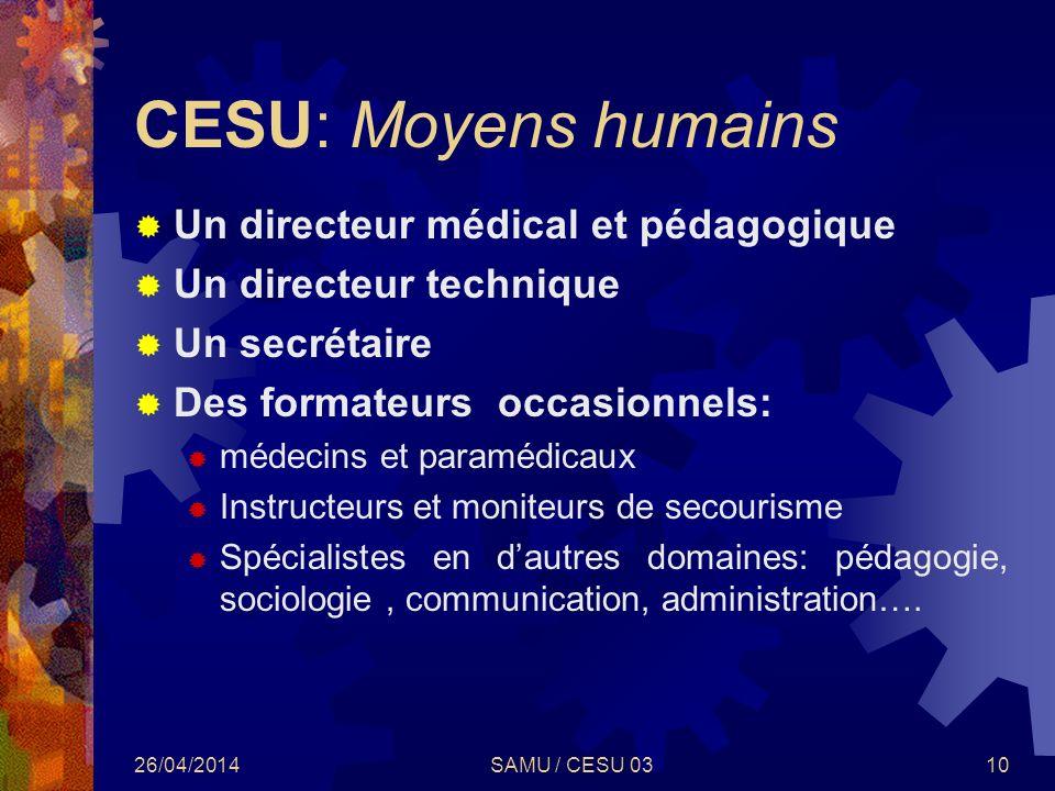26/04/2014SAMU / CESU 0310 CESU: Moyens humains Un directeur médical et pédagogique Un directeur technique Un secrétaire Des formateurs occasionnels: