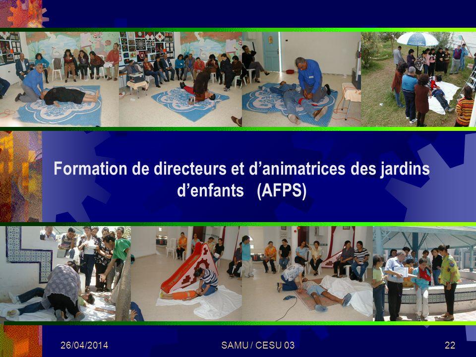 26/04/2014SAMU / CESU 0322 Formation de directeurs et danimatrices des jardins denfants (AFPS)