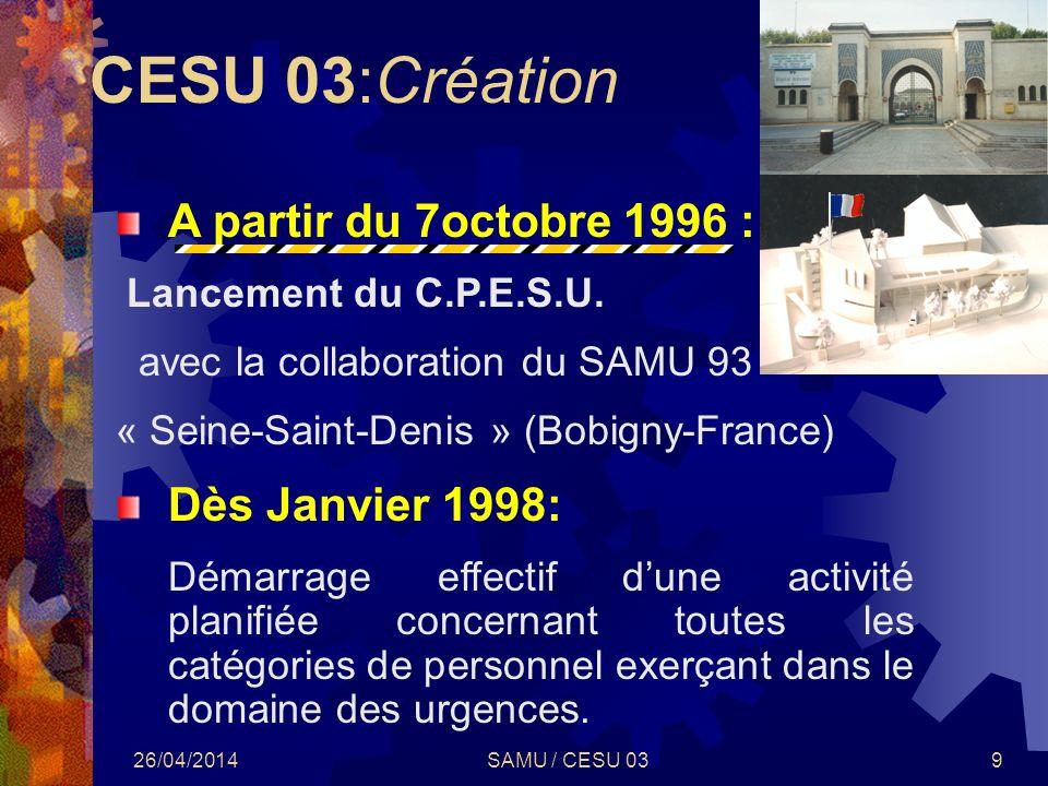 26/04/2014SAMU / CESU 039 A partir du 7octobre 1996 : Lancement du C.P.E.S.U. avec la collaboration du SAMU 93 « Seine-Saint-Denis » (Bobigny-France)