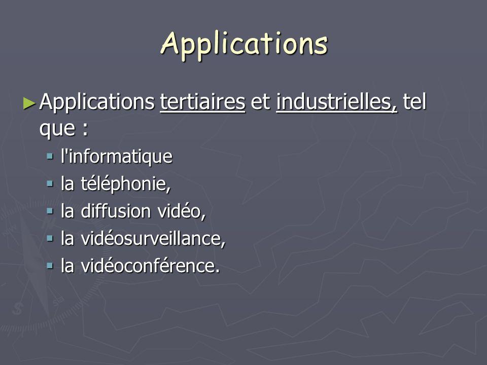 Applications Applications tertiaires et industrielles, tel que : Applications tertiaires et industrielles, tel que : l'informatique l'informatique la