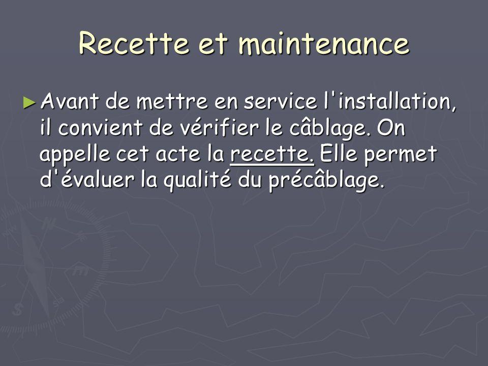 Recette et maintenance Avant de mettre en service l'installation, il convient de vérifier le câblage. On appelle cet acte la recette. Elle permet d'év