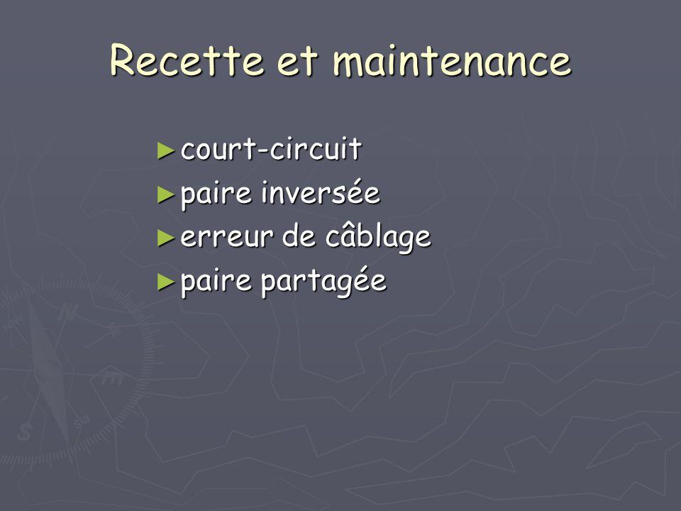 Recette et maintenance court-circuit court-circuit paire inversée paire inversée erreur de câblage erreur de câblage paire partagée paire partagée