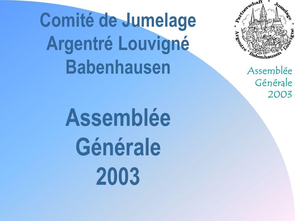 Assemblée Générale 2003 Comité de Jumelage Argentré Louvigné Babenhausen Assemblée Générale 2003