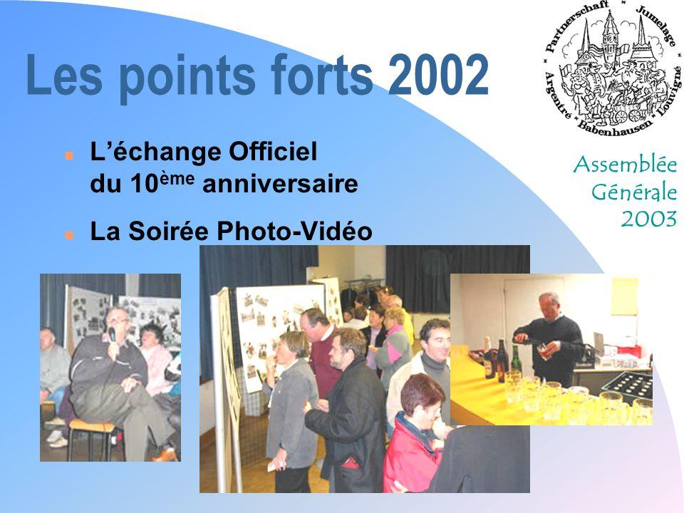 Assemblée Générale 2003 Les points forts 2002 n Léchange Officiel du 10 ème anniversaire n La Soirée Photo-Vidéo