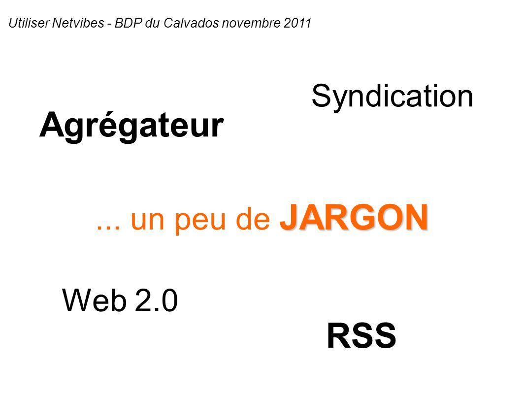 Agrégateur Web 2.0 RSS Syndication JARGON... un peu de JARGON Utiliser Netvibes - BDP du Calvados novembre 2011