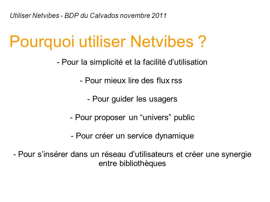 Utiliser Netvibes - BDP du Calvados novembre 2011 Pourquoi utiliser Netvibes .