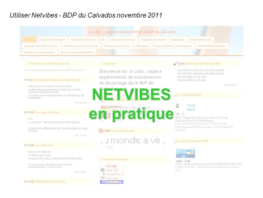 Utiliser Netvibes - BDP du Calvados novembre 2011 NETVIBES en pratique