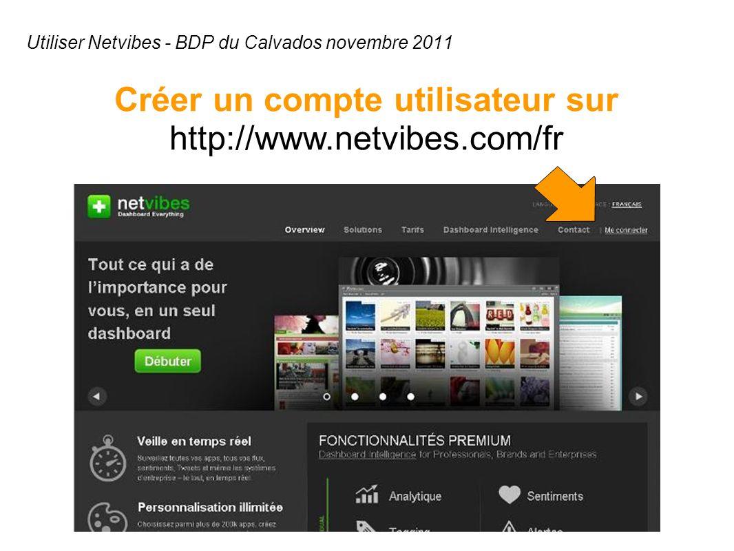 Utiliser Netvibes - BDP du Calvados novembre 2011 Créer un compte utilisateur sur http://www.netvibes.com/fr