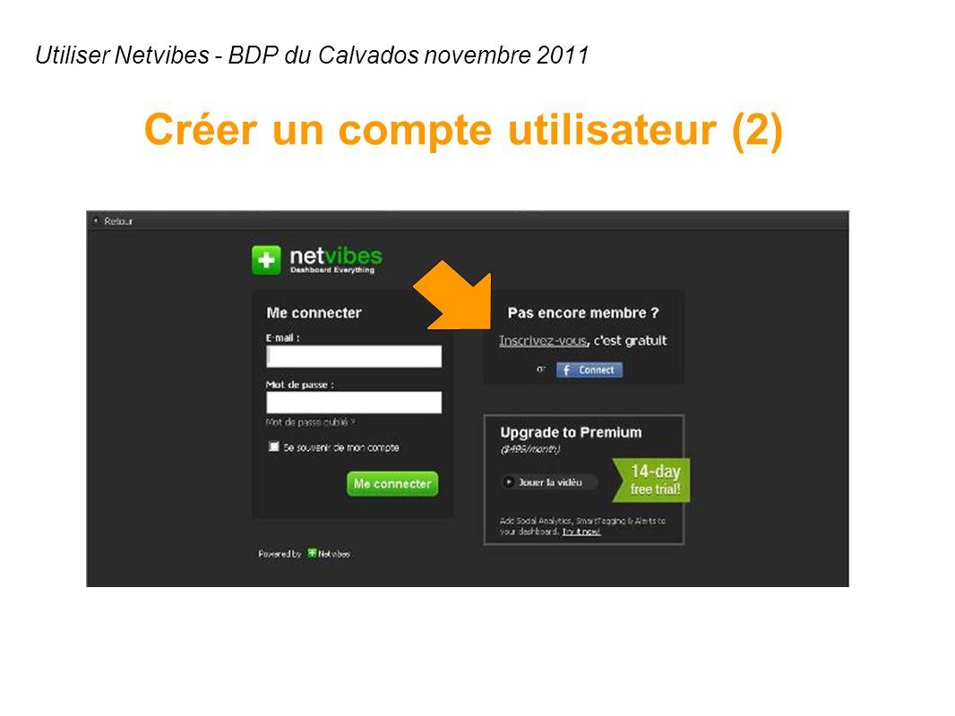 Utiliser Netvibes - BDP du Calvados novembre 2011 Créer un compte utilisateur (2)
