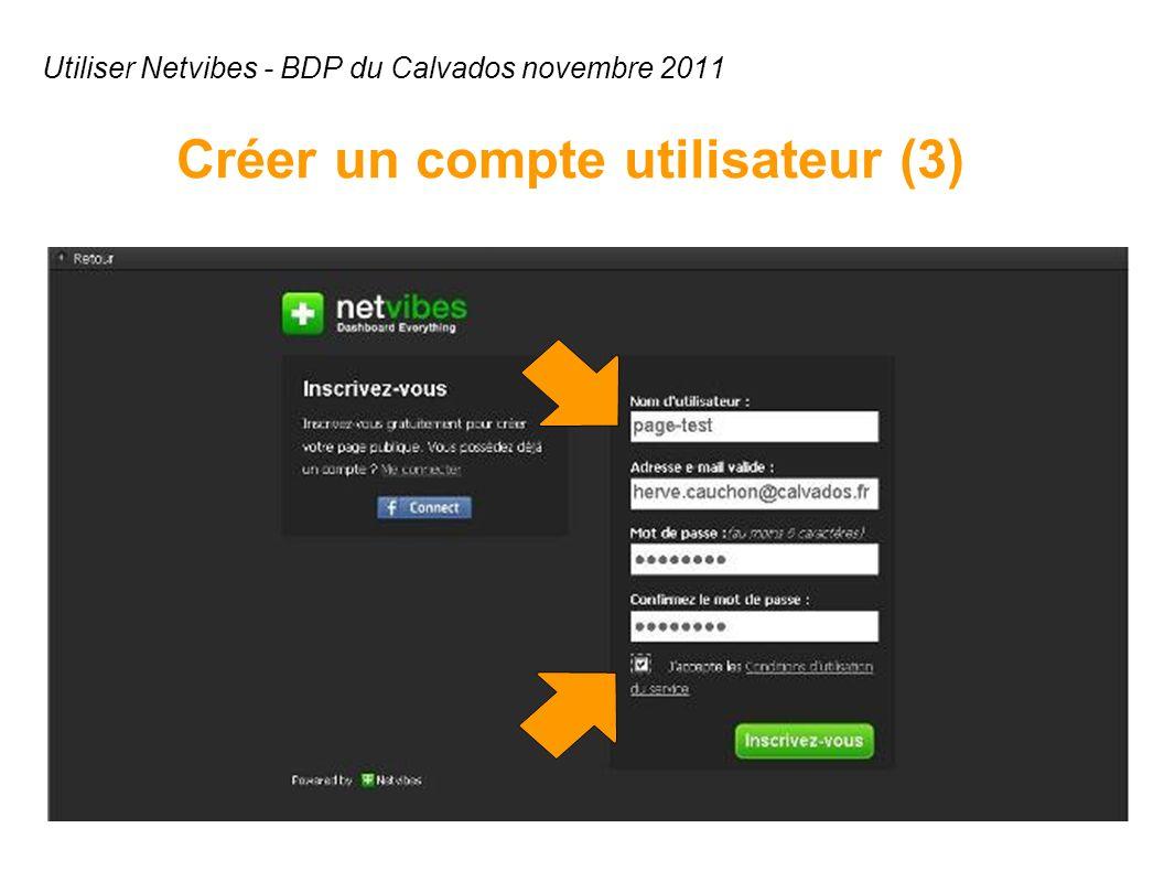Utiliser Netvibes - BDP du Calvados novembre 2011 Créer un compte utilisateur (3)