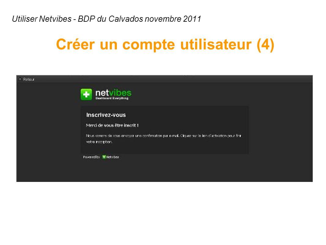 Utiliser Netvibes - BDP du Calvados novembre 2011 Créer un compte utilisateur (4)