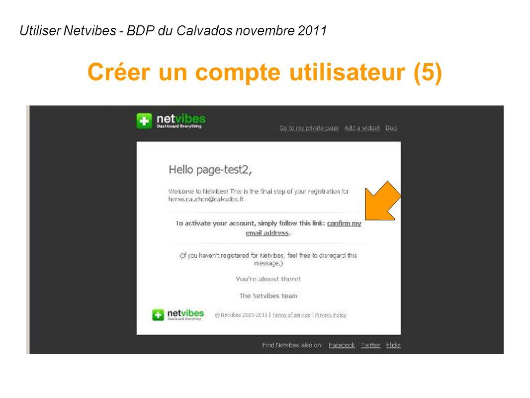 Utiliser Netvibes - BDP du Calvados novembre 2011 Créer un compte utilisateur (5)
