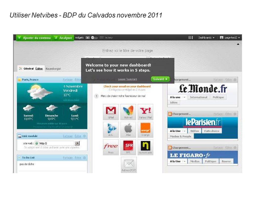 Utiliser Netvibes - BDP du Calvados novembre 2011