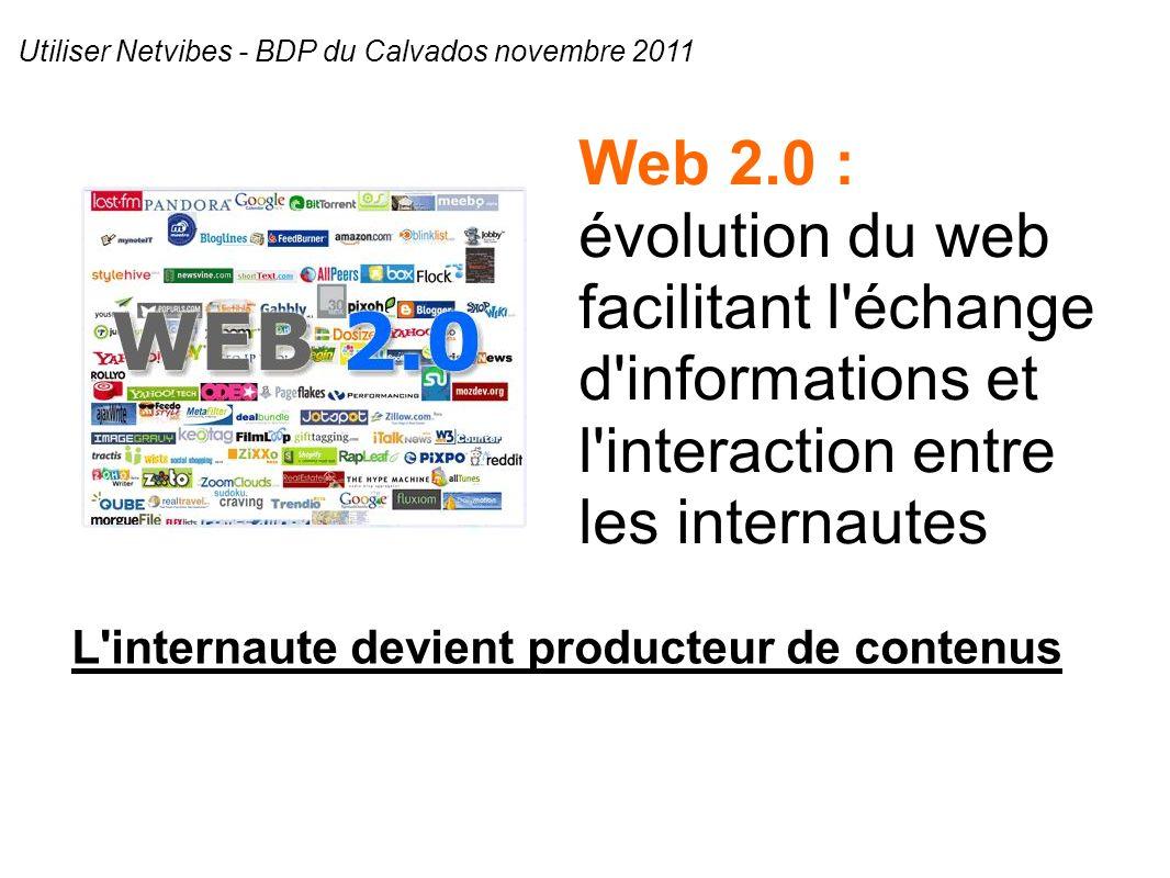 Web 2.0 : évolution du web facilitant l échange d informations et l interaction entre les internautes L internaute devient producteur de contenus Utiliser Netvibes - BDP du Calvados novembre 2011