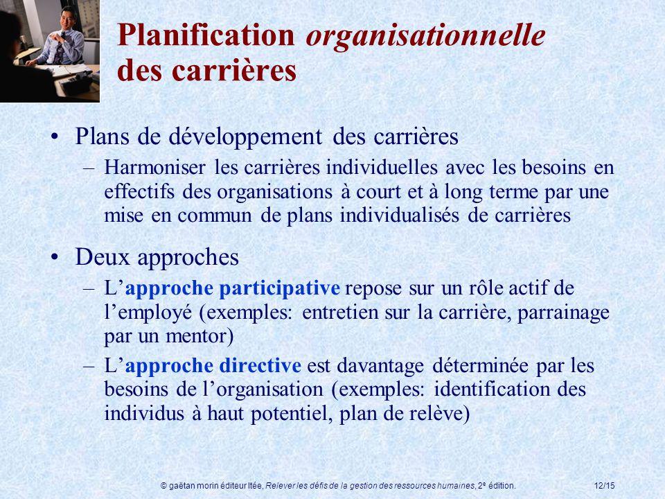 © gaëtan morin éditeur ltée, Relever les défis de la gestion des ressources humaines, 2 e édition.12/15 Planification organisationnelle des carrières