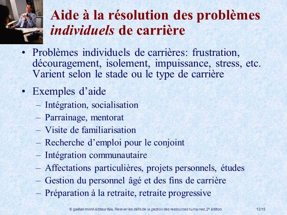 © gaëtan morin éditeur ltée, Relever les défis de la gestion des ressources humaines, 2 e édition.13/15 Aide à la résolution des problèmes individuels