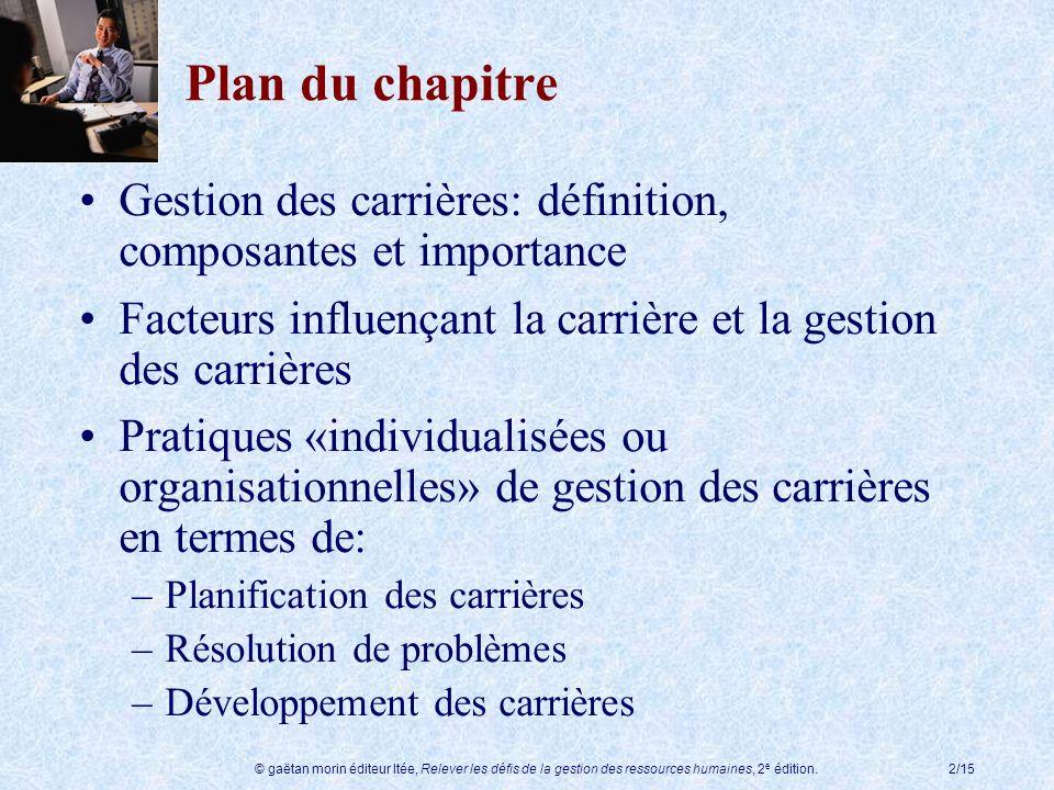 © gaëtan morin éditeur ltée, Relever les défis de la gestion des ressources humaines, 2 e édition.2/15 Plan du chapitre Gestion des carrières: définit