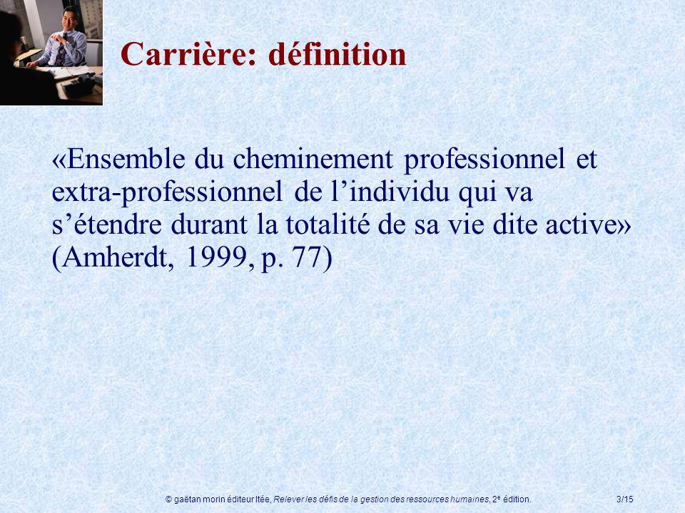 © gaëtan morin éditeur ltée, Relever les défis de la gestion des ressources humaines, 2 e édition.3/15 Carrière: définition «Ensemble du cheminement p