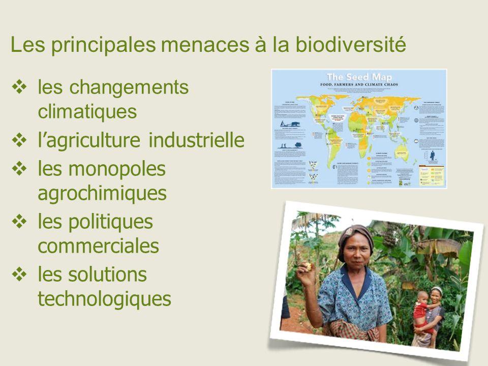 Les principales menaces à la biodiversité les changements climatiques lagriculture industrielle les monopoles agrochimiques les politiques commerciales les solutions technologiques
