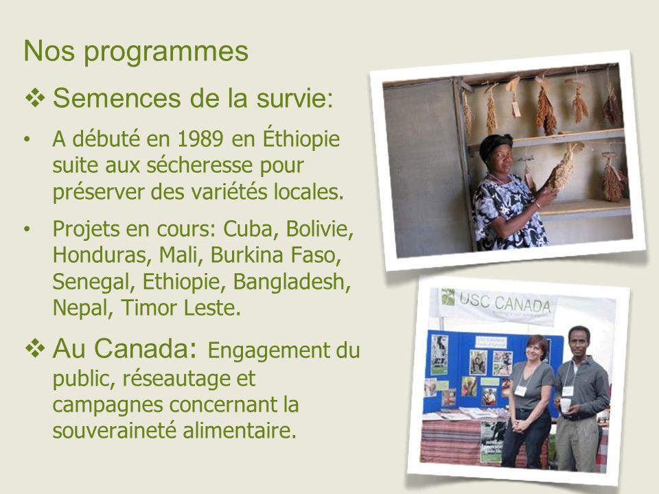 Nos programmes Semences de la survie: A débuté en 1989 en Éthiopie suite aux sécheresse pour préserver des variétés locales.