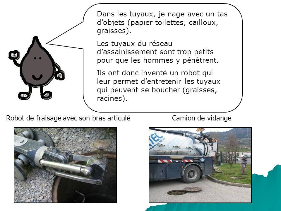Camion de vidangeRobot de fraisage avec son bras articulé Dans les tuyaux, je nage avec un tas dobjets (papier toilettes, cailloux, graisses). Les tuy