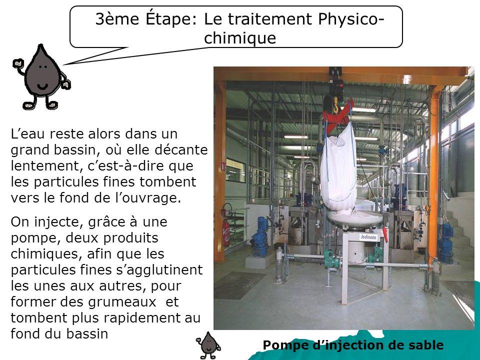 3ème Étape: Le traitement Physico- chimique Leau reste alors dans un grand bassin, où elle décante lentement, cest-à-dire que les particules fines tom
