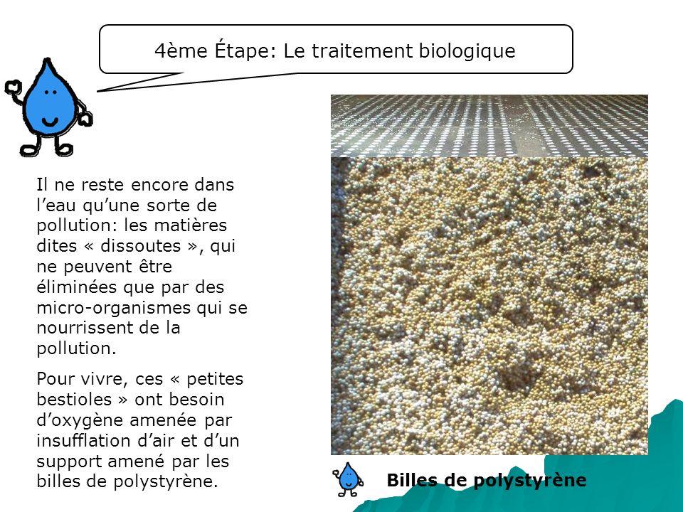 4ème Étape: Le traitement biologique Il ne reste encore dans leau quune sorte de pollution: les matières dites « dissoutes », qui ne peuvent être élim
