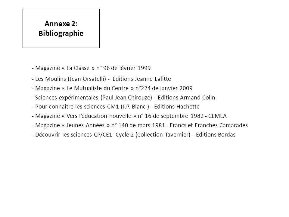 Annexe 2: Bibliographie - Magazine « La Classe » n° 96 de février 1999 - Les Moulins (Jean Orsatelli) - Editions Jeanne Lafitte - Magazine « Le Mutual