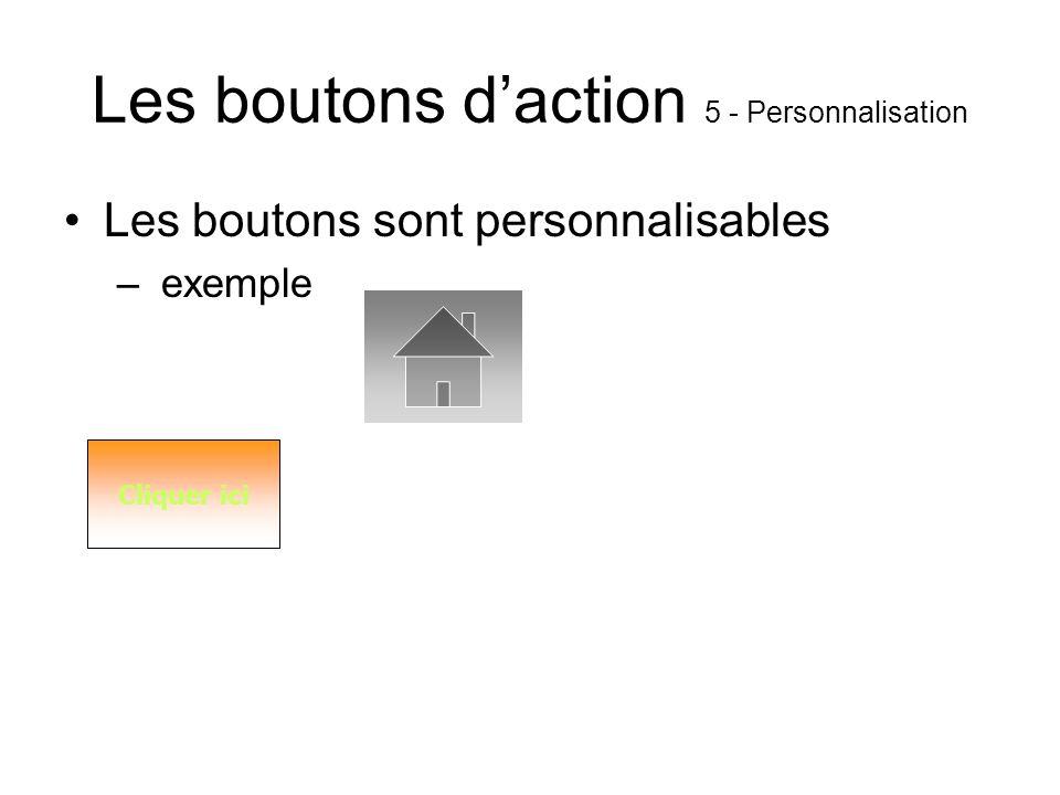 Les boutons daction 4 - Actions Liens hypertexte –Interne –Externe –Vers un autre diaporama –Vers un autre fichier Ouverture et lancement dun programm