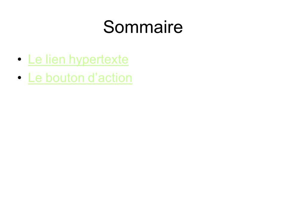 Sommaire Le lien hypertexte Le bouton daction
