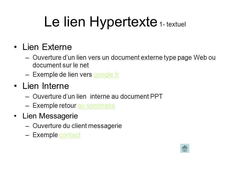 Le lien hypertexte 1.Sélectionner le texte ou le contenu sur lequel le lien doit fonctionner 2.Click droit->lien hypertexte ou menu Insertion-> lien h
