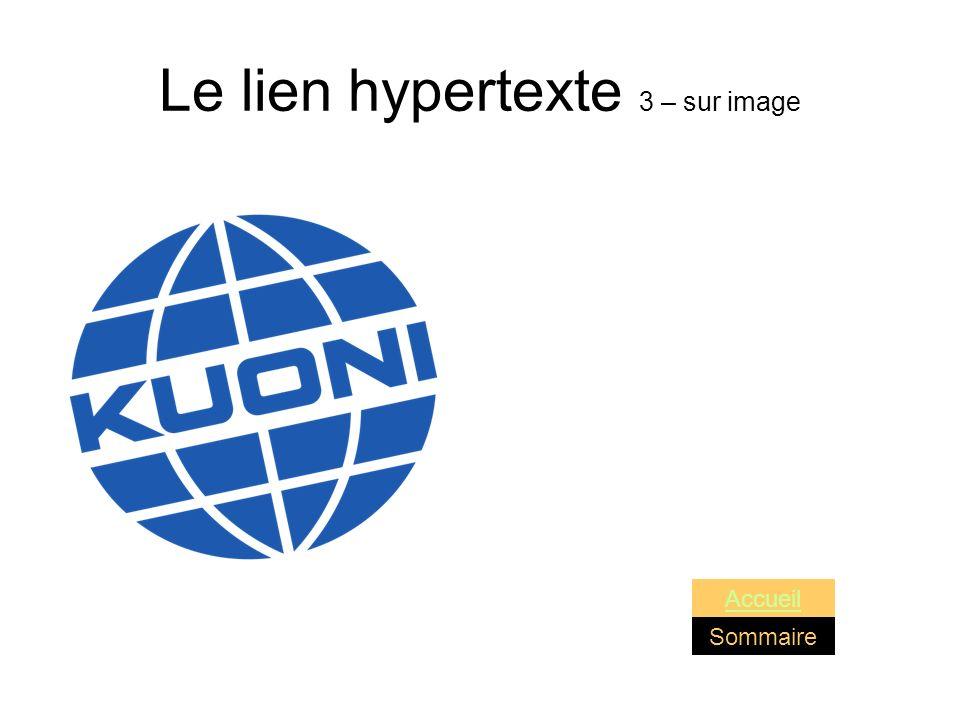 Le lien hypertexte 3 – sur image Sommaire Accueil