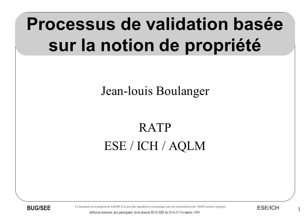 1 diffusion autorisée aux participants de la réunion BUG/SEE du 29 et 30 Novembre 1999 Processus de validation basée sur la notion de propriété Jean-l