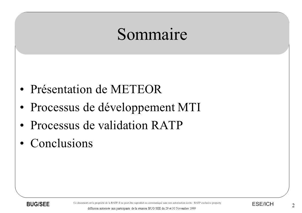 2 diffusion autorisée aux participants de la réunion BUG/SEE du 29 et 30 Novembre 1999 Sommaire Présentation de METEOR Processus de développement MTI