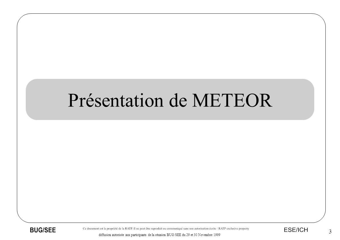 4 diffusion autorisée aux participants de la réunion BUG/SEE du 29 et 30 Novembre 1999 le SAET de METEOR, c est...