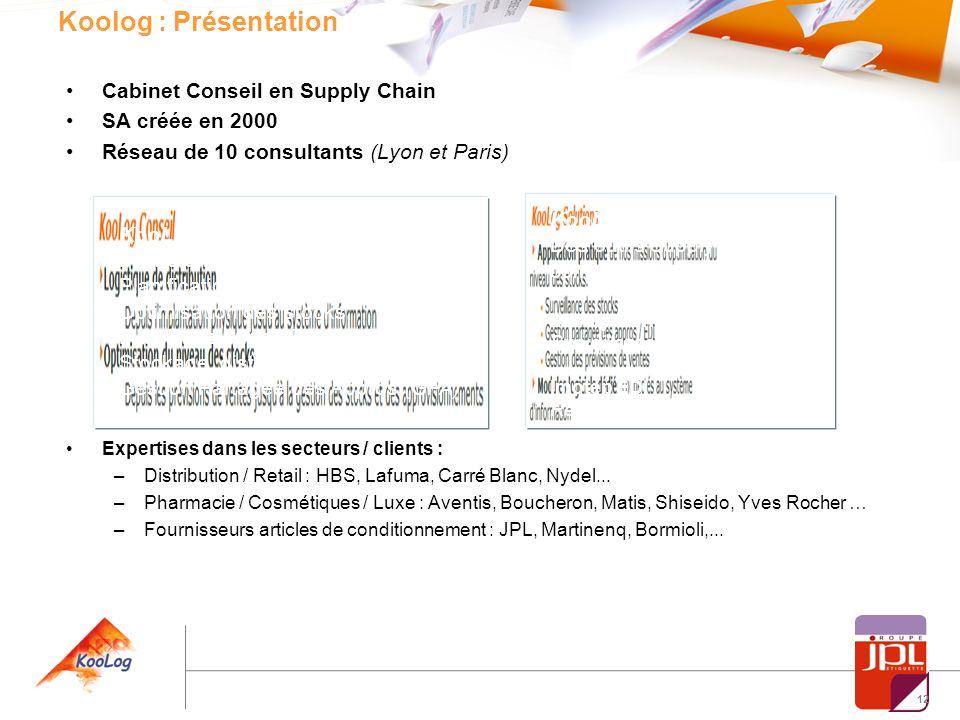 12 Koolog : Présentation Cabinet Conseil en Supply Chain SA créée en 2000 Réseau de 10 consultants (Lyon et Paris) Expertises dans les secteurs / clie