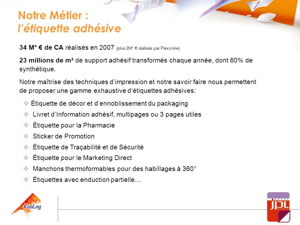 4 Notre Métier : létiquette adhésive 34 M° de CA réalisés en 2007 (plus 2M° réalisés par Flexo-line) 23 millions de m² de support adhésif transformés